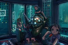 So this is a drawing of a few little sisters grouped around a big daddy. if you have no idea what in the workd im talking about, play bioshock 1 or 2 Bioshock-Lil Sisters and Daddy Bioshock 2, Bioshock Infinite, Bioshock Artwork, Bioshock Rapture, Bioshock Series, Hd Wallpaper Android, Funny Iphone Wallpaper, Wallpaper Backgrounds, Iphone Wallpapers