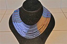African Zulu Beaded Necklace -  Multi strand - Light blue and brown by Hadeda on Etsy