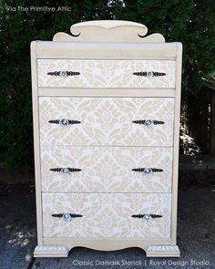 Classic Damask Allover Furniture Stencil By Royal Design Studio