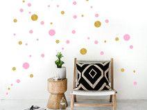 Wandsticker Punkte Bunt | 50 Konfetti Dots