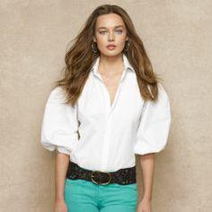 Puff-Sleeved Poplin Shirt - Blue Label Short-Sleeve - RalphLauren.com
