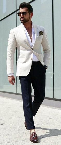 - summer suiting inspiration with a white button up shirt (with way too many buttons unbuttoned IMHO) white linen blazer navy silk pocket square sunglasses watch navy trousers no show socks brown tassel loafers Cream Blazer Outfit, White Blazer Outfits, Stylish Men, Men Casual, Mens Fashion Blazer, Men's Fashion, Fashion Shoes, Fashion Trends, Herren Outfit
