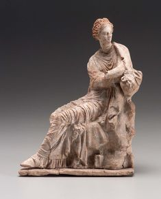 Statuette of woman seated on a rock. blue and pink on himation; black on rock; Terracota, Greek Artifacts, Greece Culture, Rome, Roman Art, Minoan, High Art, Bronze Age, Museum Of Fine Arts
