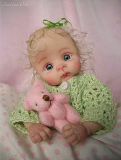 "❤OOAK HAND SCULPTED MINI BABY GIRL ""PAISLEY"" BY: JONI INLOW* DOLLY-STREET❤"