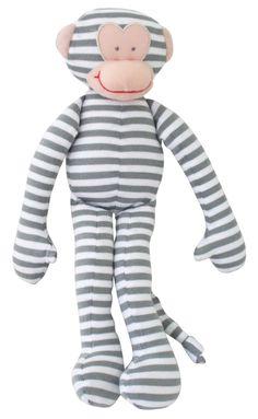 Alimrose soft grey-striped monkey toy with rattle www.luxebaby.com.au
