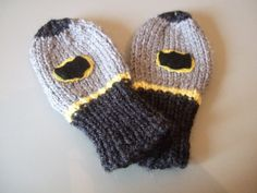 Bat Boy Super Hero Newborn Baby Novelty  Mittens / Gloves. Thumbless (to fit approx.0-6 months) Hand knitted Superhero Mittens
