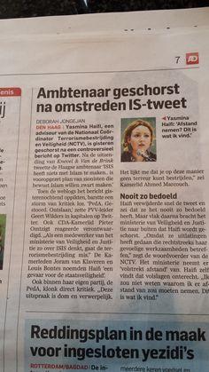Ambtenaar geschorst ivm een tweet. Algemeen Dagblad 14 augustus 2014