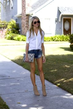 15 Reasons to Style Denim Shorts With a White Shirt This Summer   StyleCaster