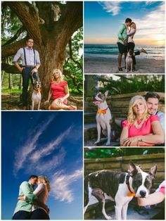 Colorful pet and beach engagement photos from Mari Sabra Photography.