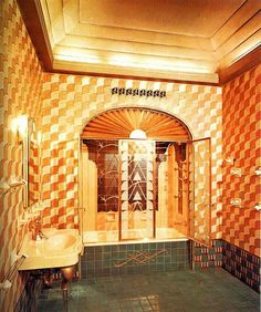 """""""I.S. Chanin's bathroom is the executive suite of the Chanin building on Lexington Avenue and 42nd Street, New York. The building was completed in 1929. The interior decoration was by Jacques Delamarre."""""""