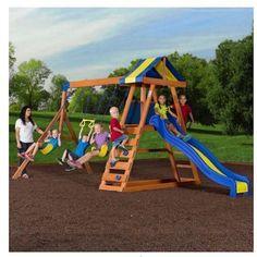Backyard-Swing-Set-Big-Wooden-Complete-Outdoor-Yard-Play-Glider-Equipment-Parts