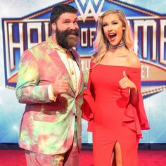 WWE Hall of Fame Superstar Mick Foley and his daughter Noelle Foley on the red carpet at the 2017 WWE Hall of Fame ceremony #WWE #WWEHOF #WrestleMania #wwecouples