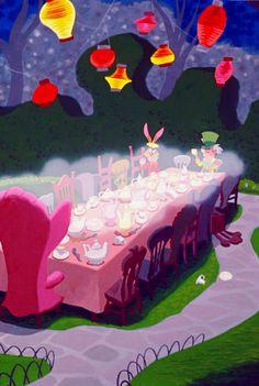 Disney alice in wonderland tea party background 1 Alicia Wonderland, Alice In Wonderland Aesthetic, Alice In Wonderland Tea Party, Alice In Wonderland Scenes, Walt Disney, Disney Art, Disney And More, Disney Love, Chesire Cat