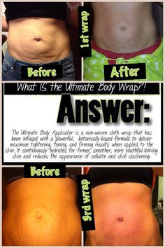 The BEFORE and AFTER pictures say it all! The It Works! ultimate Body Applicator is a body wrap that uses a botanically based cream formula to tighten, tone, and firm trouble areas in as little as 45 minutes. Get a box of 4 wraps for $59 as a loyal customer Call or text 520-840-8770 http://bodycontouringwrapsonline.com/wholesale