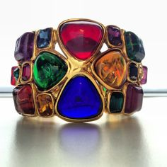 Very Rare Vintage Chanel Cuff Bracelet Gripoix Poured Glass Season 26 on Etsy, $3,891.48 AUD
