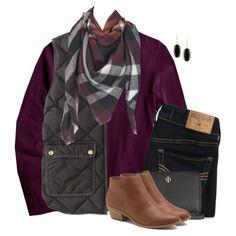 Plum sweater, vest & blanket scarf