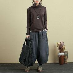 Autumn Simple Slim Turtleneck Long Sleeve Women Coffee Shirt - Buykud