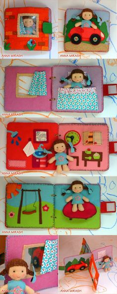 Quiet book style little felt doll house Felt Crafts, Diy Crafts, Baby Quiet Book, Quiet Book Patterns, Felt Doll Patterns, Food Patterns, Diy Bebe, Felt Quiet Books, Book Activities