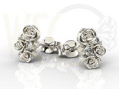 Kolczyki w kształcie róży z białego złota z diamentami / Rose-shaped earrings made from white gold with a diamonds / 881 PLN #gold #jewelry #diamonds #earrings #bizuteria #zloto #diamenty