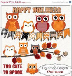 SALE 33% Off Halloween Owls Clip Art Black by DigiScrapDelights