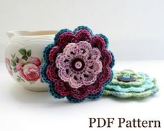 Crochet Flower Pattern PDF download DIY tutorial