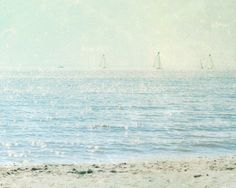 Sailboats and Beach Photograph Wisconsin Photography by cklausen, $23.00