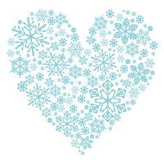 雪の結晶を集まって、ハートの形になっています。冬の透き通るような空気のイメージ。