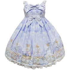 Partiss Womens Vintage Bowknots Crystal Ball Printed Sweet Classic... (£39) ❤ liked on Polyvore featuring dresses, vintage dresses, vintage day dress, lavender dress and light purple dress