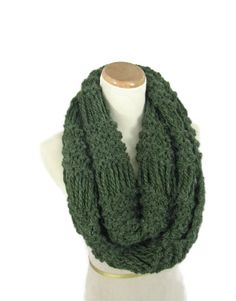 Infinity Scarf Knit Scarf Chunky Scarf Green by ArlenesBoutique                                                                                                                                                                                 More