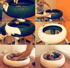 Fantastic Pet Bed ideas Cute idea for dog bed. Not sure I want a tire in my house, but love the concept.Cute idea for dog bed. Not sure I want a tire in my house, but love the concept. Animal Projects, Diy Projects, Tire Craft, Diy Dog Bed, Diy Bed, Homemade Dog Bed, Old Tires, Recycled Tires, Recycled Cd Crafts