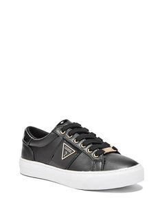 0d8220c679f GUESS Factory Women's Gabey Low-Top Sneakers: Low-top sneakers designed  with an allover sparkle and metallic faux-leather stripes. Logo hardware  and glitter ...