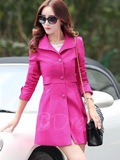 #TBDress - #TBDress Wide Lapel Single-Breasted Womens Trench Coat - AdoreWe.com