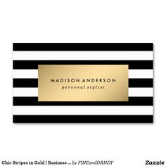 Chic Stripes in Gold   Business Cards - Make a lasting first impression with modern and chic business cards from Fine and Dandy Paperie. Your business image is everything!