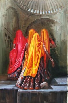 Rajasthani Women --- South Asian Oil Painting- Title: Rajasthani Women Medium: Oil on Canvas Size: 24 X The painting captures its audience with a striking yet mysterious portrait of traditional Rajasthani women. Rajasthani Painting, Indian Art Paintings, Oil Painting Woman, Painting, Woman Painting, Oil Painting, Traditional Paintings, Art, South Asian Art