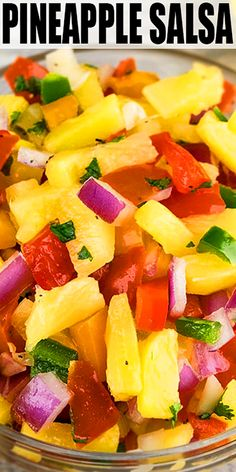 PINEAPPLE SALSA RECIPE- The best, quick and easy salsa, homemade with simple ingredients for side dish or appetizer dip in one pot or bowl in 20 minutes. Loaded with canned pineapples, tomatoes, peppe Mexican Food Recipes, Vegetarian Recipes, Cooking Recipes, Healthy Recipes, Healthy Drinks, Pasta Recipes, Pineapple Salad, Canned Pineapple, Pineapple Salsa Recipes