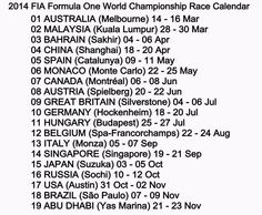 F1 2014 timetable