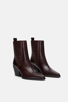 2a6cb35b0 ZARA - Female - Leather animal print ankle boots - Burgundy - 7½ Mid Calf  Boots
