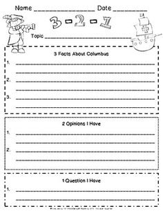 Christopher Columbus 3-2-1 Reading Strategy.  Could use this with other topics ...maybe a classroom video note taking strategy?