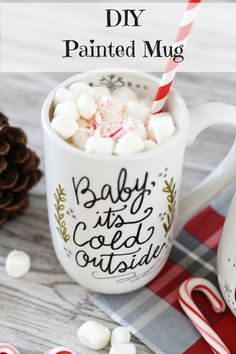 DIY Painted Mug Christmas Gift. Time to think about holiday crafts! Love this idea. Includes tutorial.