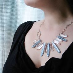 Ice Dagger Collar  Blue Kyanite Quartz Crystal and Silver by strut, $89.00