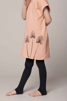 O+S Rollar skate dress coral with black stencil