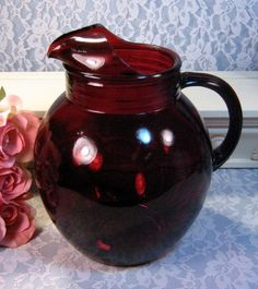 red depression water goblets - Google Search