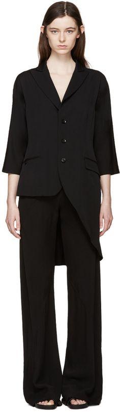 Yohji Yamamoto Black Gabardine Extended Blazer