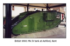 ritish WW1 Mk IV tank at Ashford Kent.