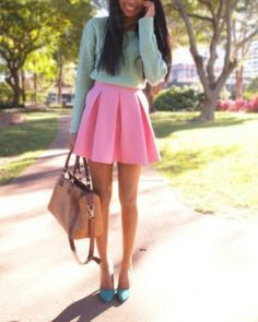 #classic #preppy #style Bright colored sweater plus pleated skirt (shoes don't really match but I like the look)