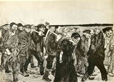 The March of the Weavers in Berlin - Kathe Kollwitz. 1897. Expressionism. engraving.  Gallery: Stadtmuseum, Munich, Germany