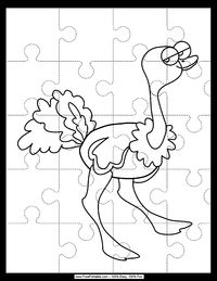 A saucy ostrich walks across this coloring page. If you cut along the dotted lines and print it on cardstock, it also makes an excellent 20-piece puzzle that kindergarteners will enjoy.