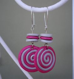 Fimo spiral earrings  pink and silver grey by Lazylady21 on Etsy, €8.00