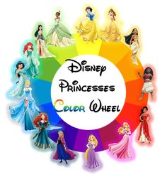 Disney Princesses placed in the color wheel. Yellow - Snow White (based on the dominant color in her dress) Yellow - Belle Orange - Pocahontas Red-Orange - Moana (coming in Red - Elena of Ava. Princess Moana, Disney Princess Colors, Disney Colors, Princess Theme, Disney Theme, Disney Love, Walt Disney, All The Princesses, Disney Princesses