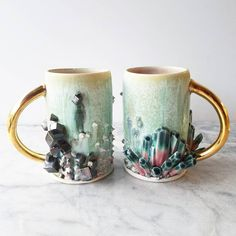 """10.8k Likes, 283 Comments - Katie Marks (@anotherseattleartist) on Instagram: """"These are my watermelon tourmaline and Pyrite inspired mugs. These are my favorite pieces I've made…"""""""